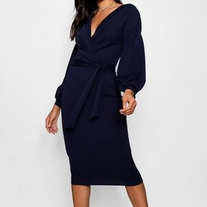 BOOHOO Off The Shoulder Wrap Midi Bodycon …